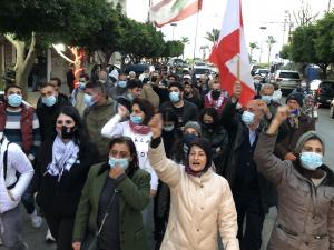 تظاهرة لناشطي حراك صور احتجاجاً على تردي الاوضاع المعيشية